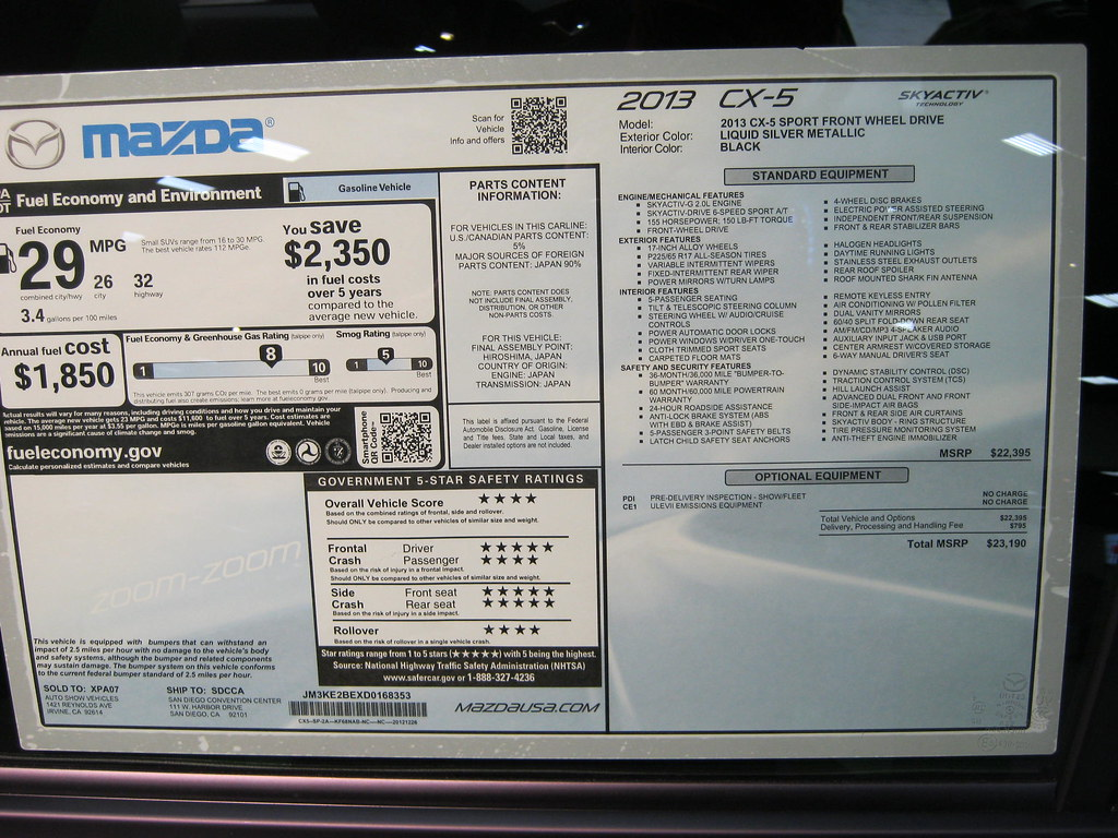 Mazda 3 Forum >> 2013 MAZDA CX-5 WINDOW STICKER = $23,190 | For a larger imag… | Flickr