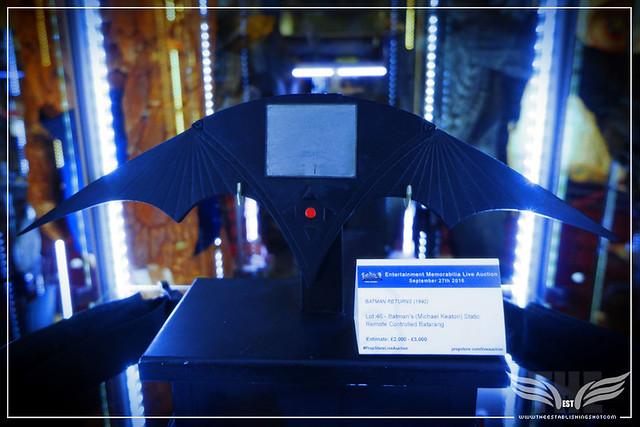 The Establishing Shot: BATMAN'S (MICHAEL KEATON) STATIC REMOTE CONTROLLED BATARANG FROM BATMAN RETURNS - PROP STORE ENTERTAINMENT LIVE AUCTION PREVIEW EXHIBITION - ODEON BFI IMAX, LONDON