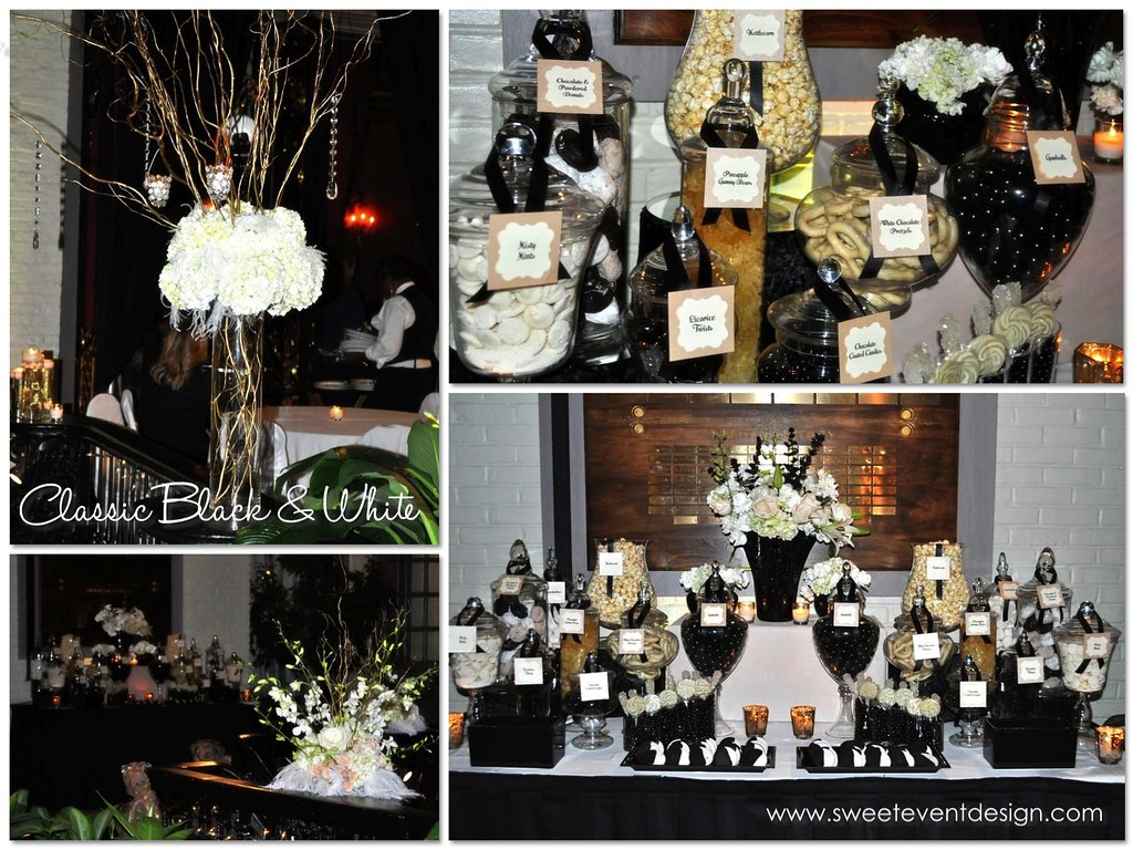 Black White Candy Dessert Buffet 03 Black White