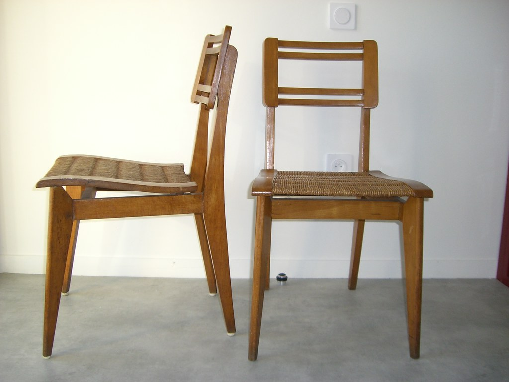 chaises pierre cru ge c 1950 france bois et paille. Black Bedroom Furniture Sets. Home Design Ideas
