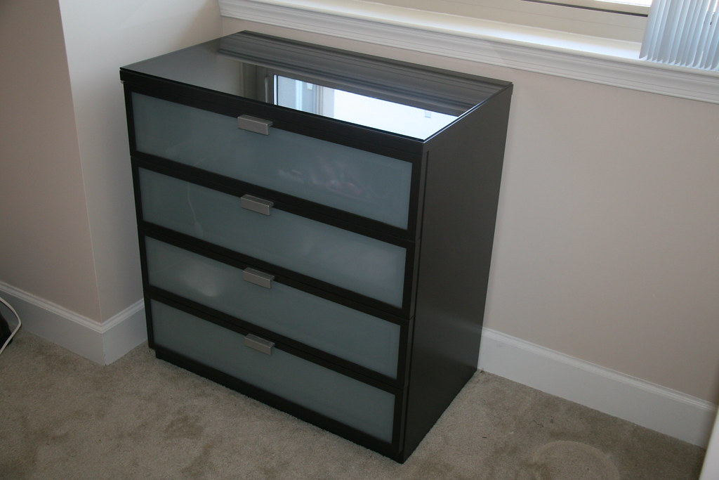 Hopen 4 Drawer Chest Black Brown Frosted Glass