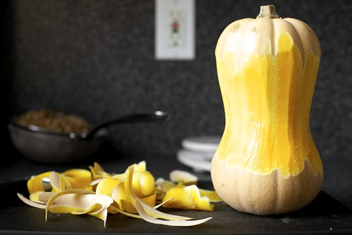 peeling the squash, which looks like a peanut | by smitten kitchen