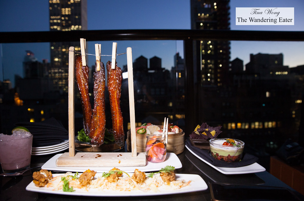 Our spread of food spyglass rooftop bar at archer hotel for Food bar nyc