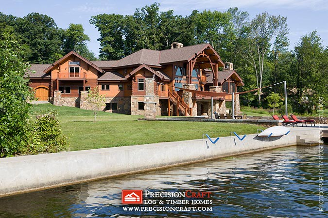 Waterfront View Precisioncraft Custom Log Home From