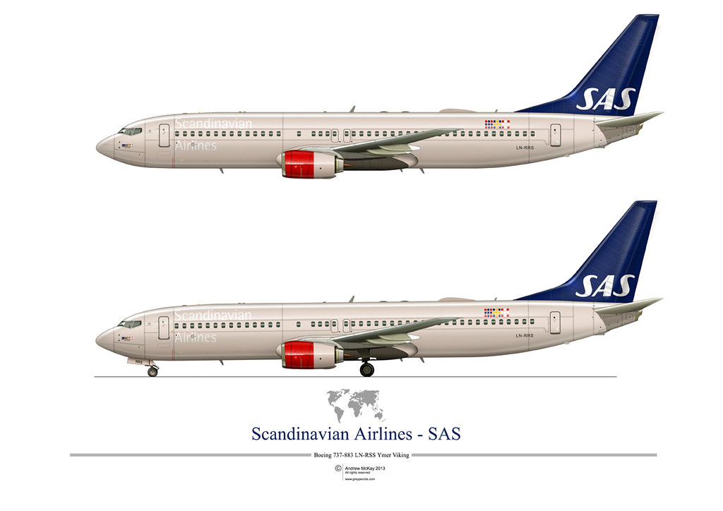 Sas Boeing 737 800 A3 Side Profile Print Available From