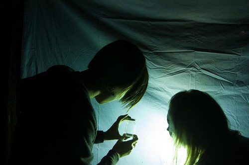 student holding vial in front of hanging sheet at night