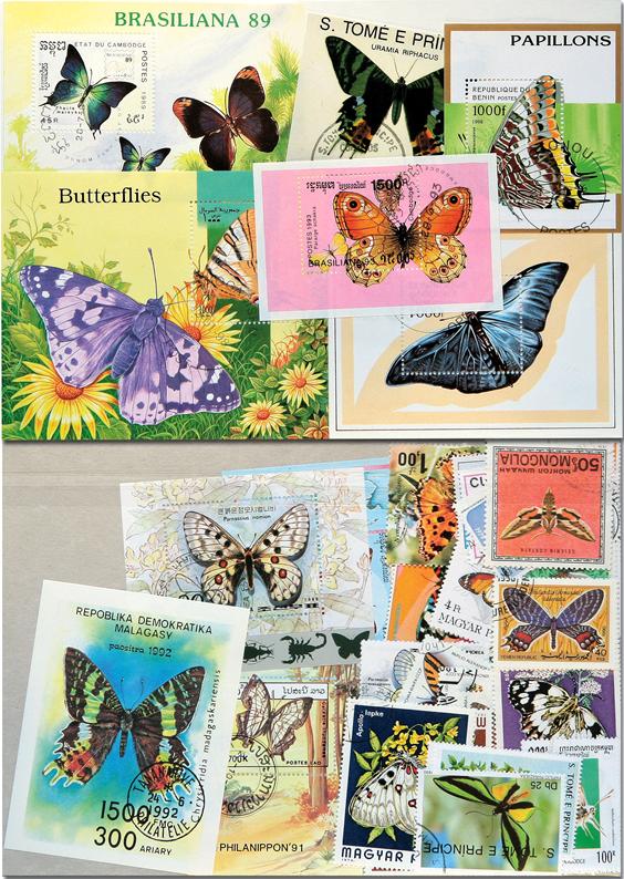 *Známky motýle - bločky, aršíky 10 ks rôznych