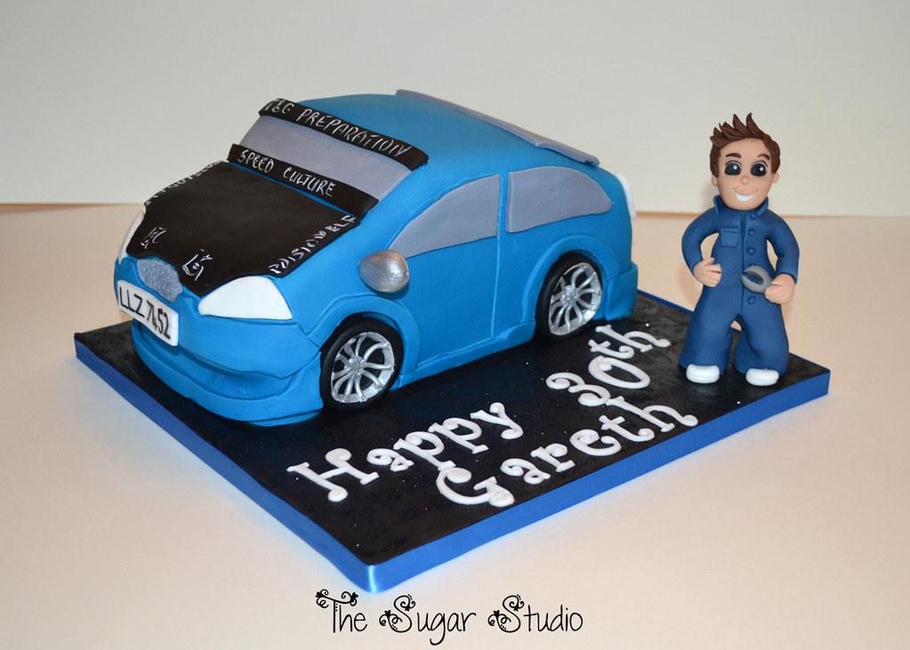 custom car carved 30th birthday cake with handmade edible flickr