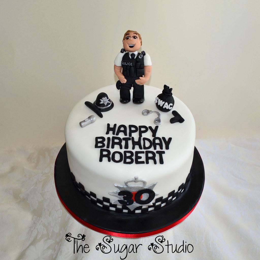 Policeman Police Officer 30th Birthday Cake With Handmade