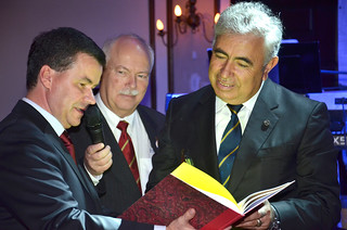 President of the Turkish Aeronautical Association is given a booklet containing extracts of minutes of previous General Conference held in Turkey | by FAI - Federation Aeronautique Internationale