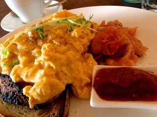 Scrambled eggs on toast with house-cured salmon at Fitzrovia | by ultrakml