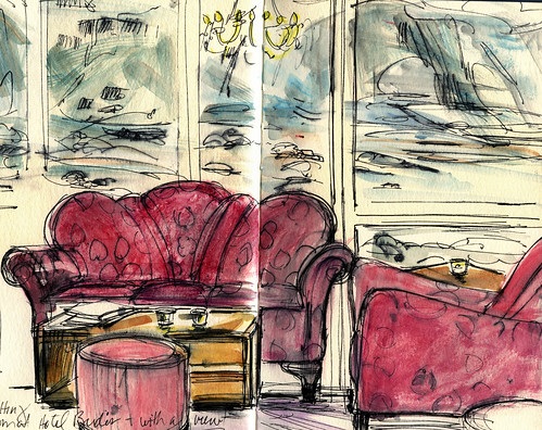 Iceland sketches: Hotel Budir interior with view | by Laura Frankstone