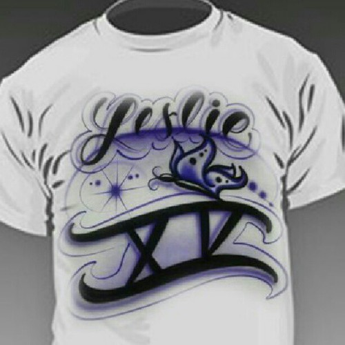 Custom airbrushed quincea eras t shirts for all the party for Meadowood mall custom t shirts