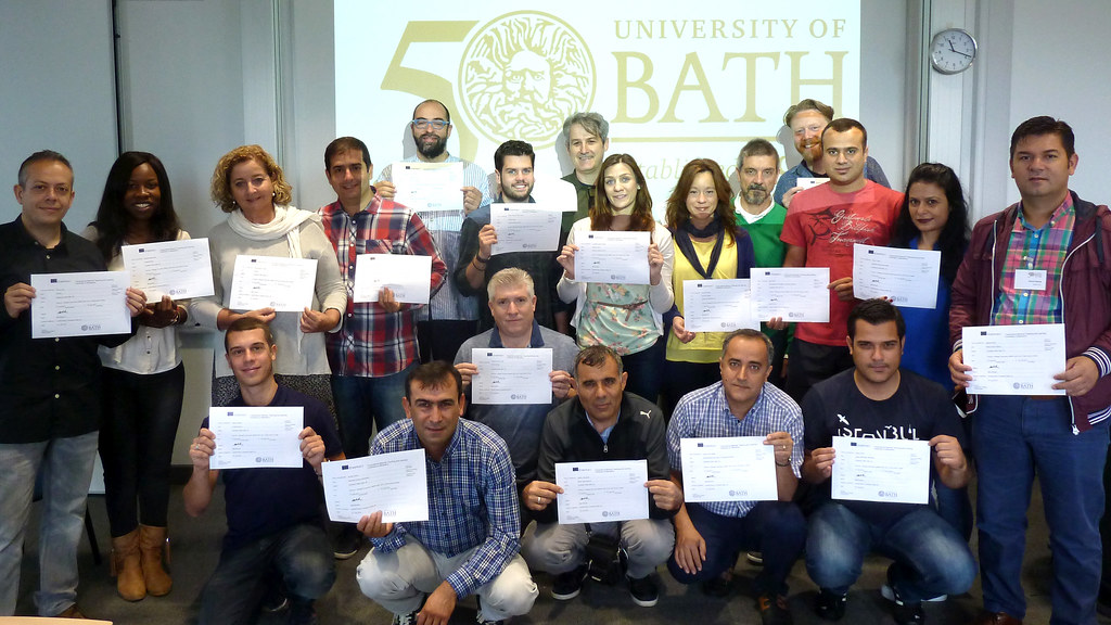 Group photo of representatives from Spain and Turkey with staff from the University of Bath.