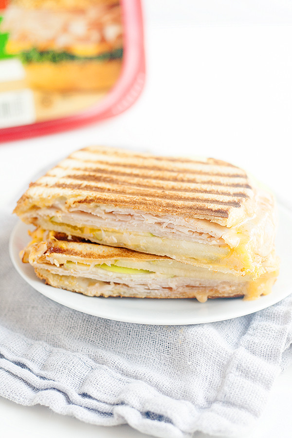 buffalo turkey panini with apples and blue cheese