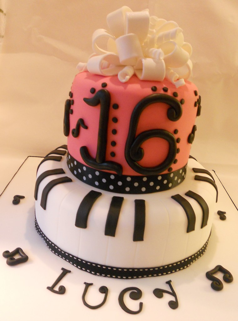 Sweet 16 Birthday cake Piano Musical notes ribbon bow pink Flickr