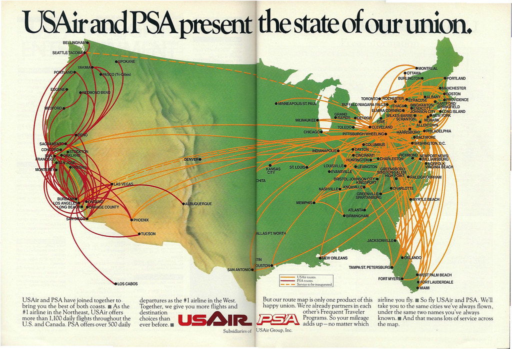 Psa Usair Route Map January 1988 By Airbus777