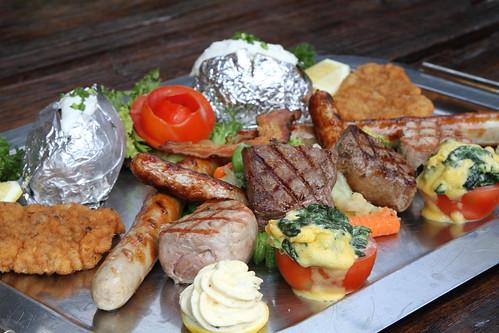 Beef steak, Thueringer grilled sausage, Nuremberg sausage ...