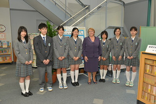UN Women Executive Director Michelle Bachelet poses with students from Shibuya Junior and Senior High School, where she addressed to the student body and held an interactive discussion | by UN Women Gallery