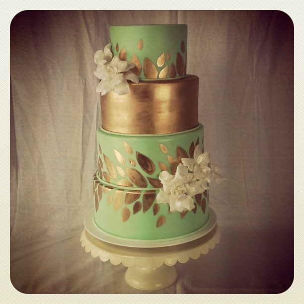 green and gold wedding cakes mint and gold wedding cake artisancakecompany flickr 14957