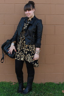 Scarf-print outfit: Forever 21 scarf-print shirtdress, black tights, quilted leather boots, spiky necklace, studded-bottom bag, motorcycle jacet | by Célèste of Fashion is Evolution