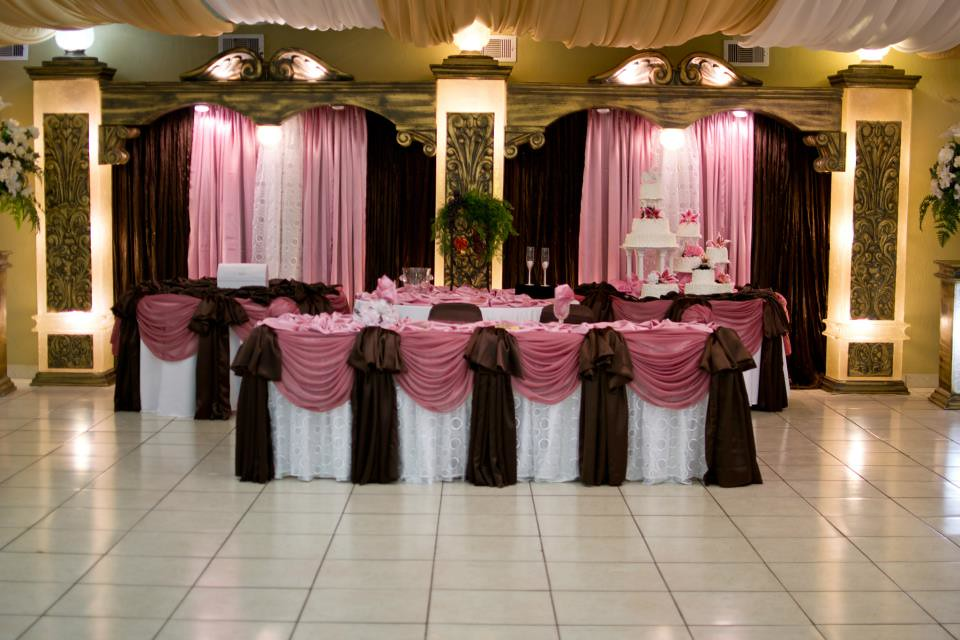 Wedding houston texas reception hall white pink brown 26 for Simple wedding decorations for house