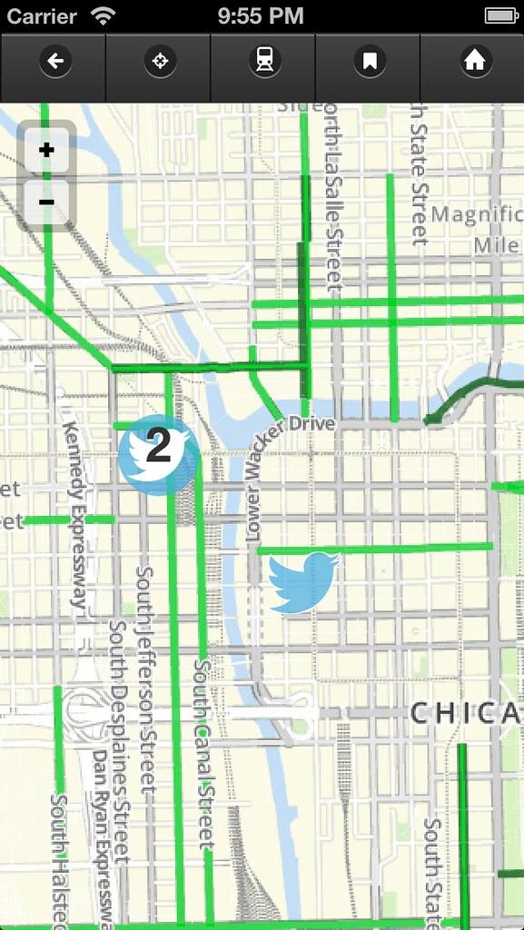 Twitter bikeCHI geotagged tweets in the Chicago Bike Map Flickr