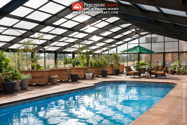 Custom green house pool timber frame home precisionc for Pool inside greenhouse