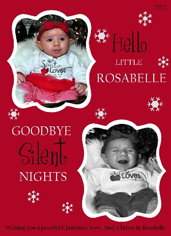 Hello Little Rosabelle, Goodbye Silent Nights3 Medium Web view | by amyscustomgreetings.com