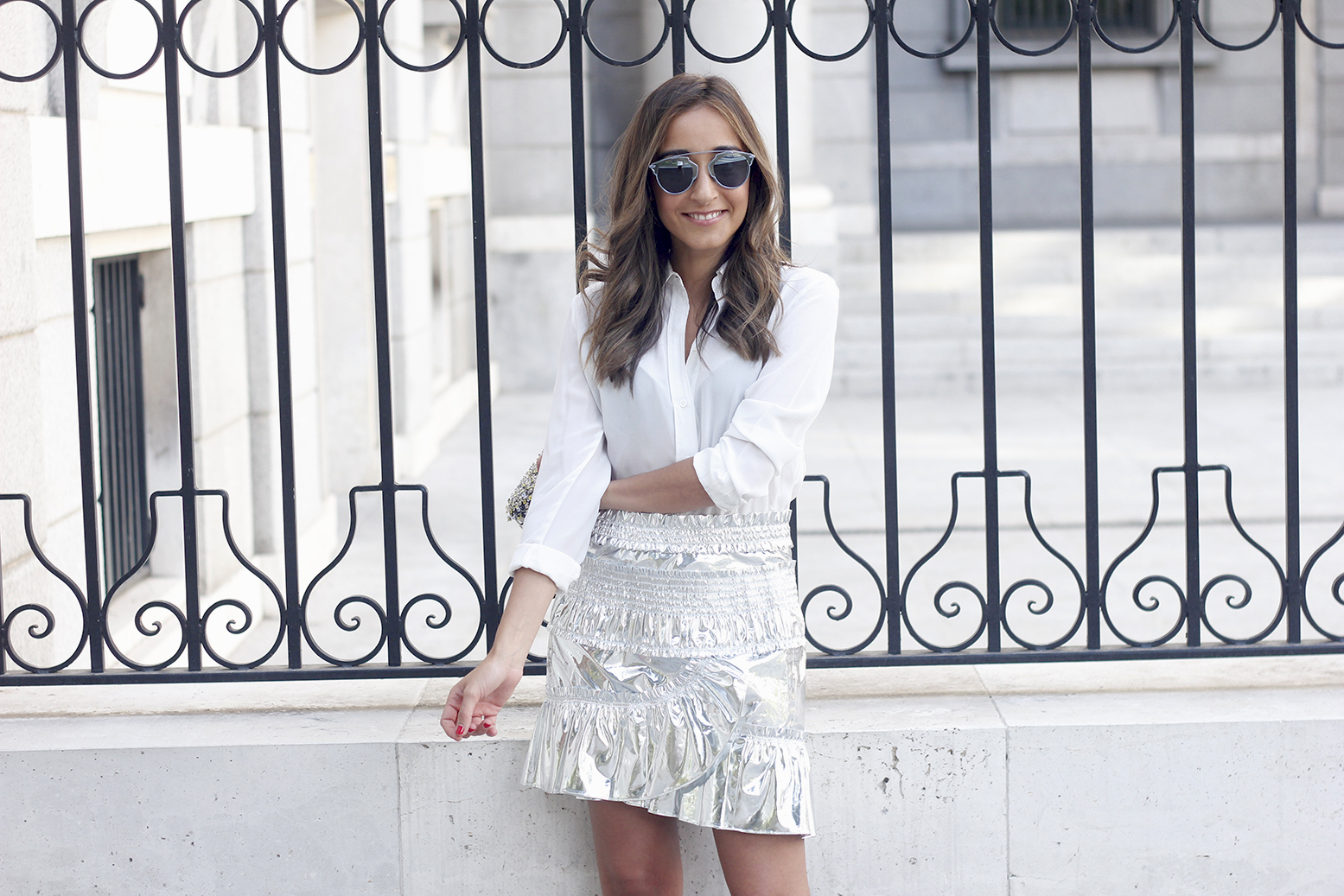 Isabel Marant Metallic Skirt white shirt nude sandals dior so real sunnies outfit style fashion18