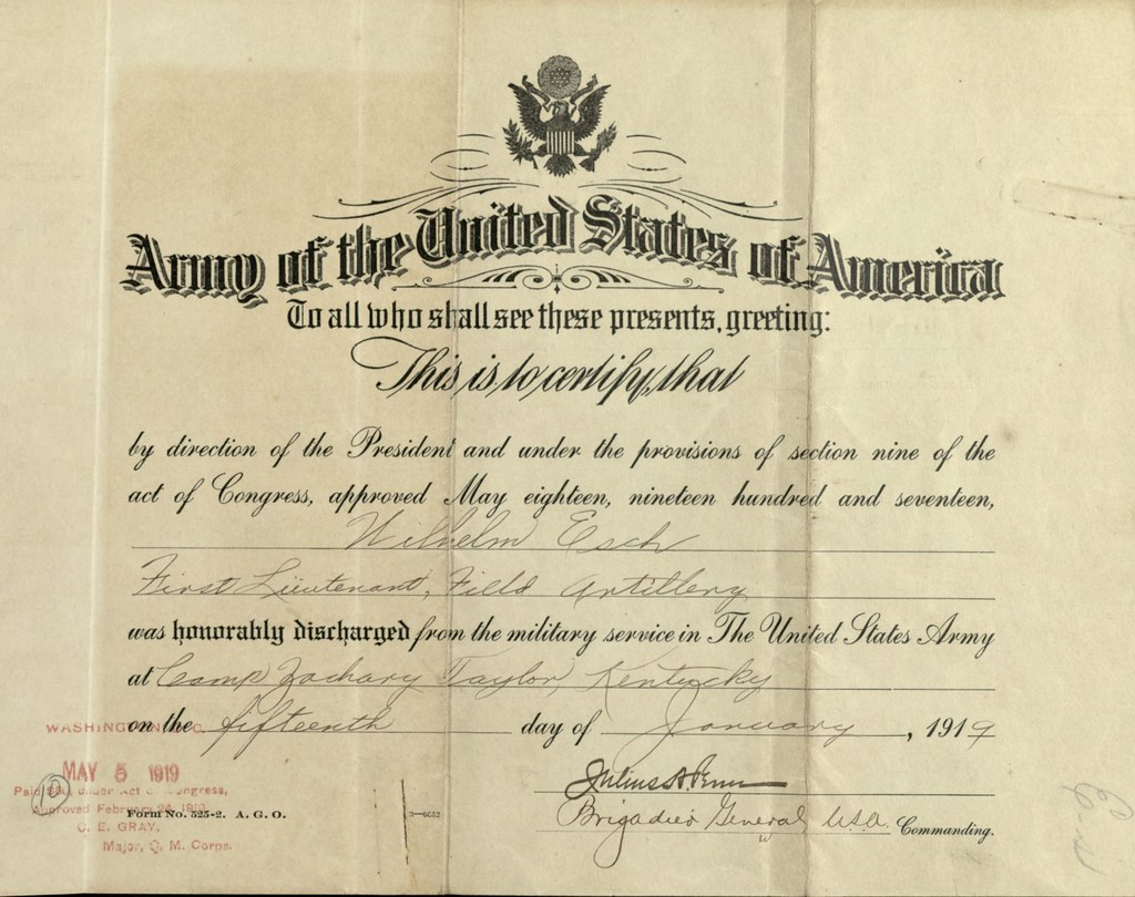 Wilhelm Esch Honorable Discharge Certificate January 15 Flickr