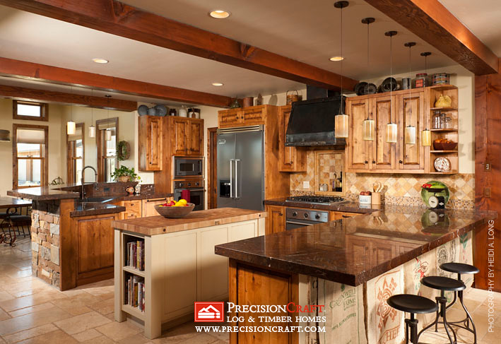 Custom Kitchen | Timber Frame Home by PrecisionCraft | Flickr