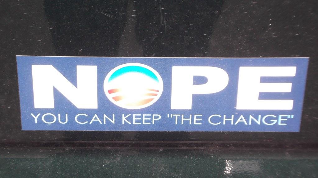 Bumper sticker nope anti obama you can keep the