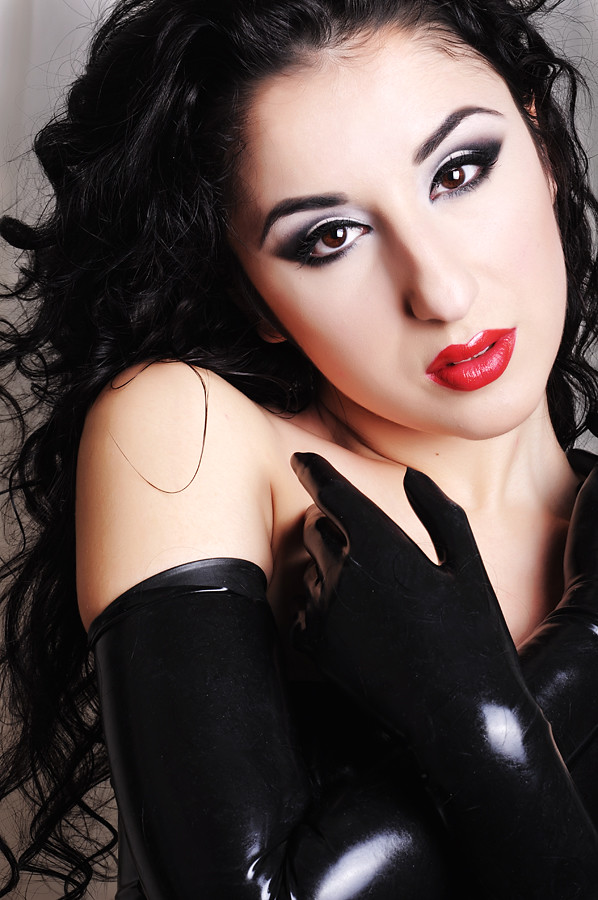 Girl in leather gloves and leather coat - 1 5