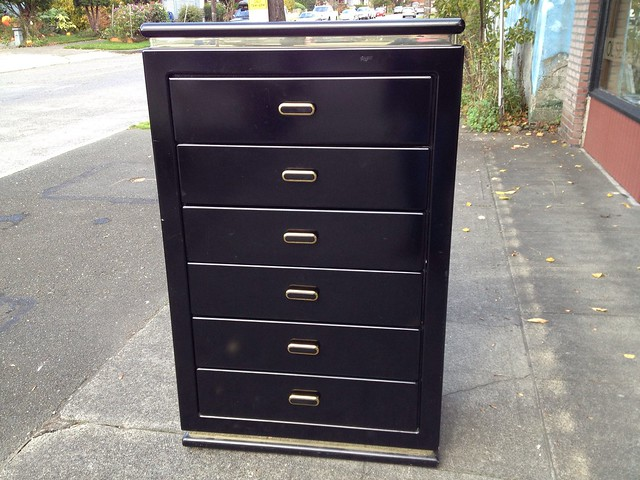 Black Lacquered Tall Boy Dresser With Gold Accents