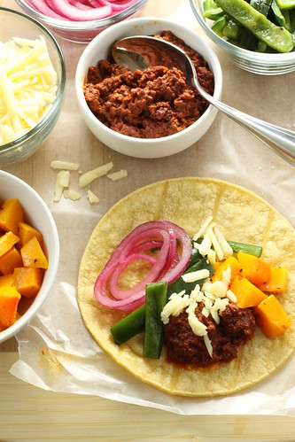 Chorizo Tacos with Roasted Butternut Squash, Aged Cheddar, Poblanos, and Marinated Red Onions | by Michael Beyer Photography