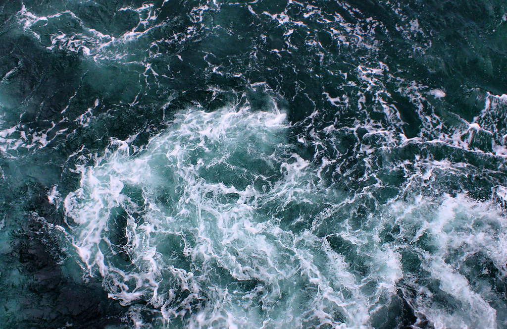 churning water as seen from the top deck of the