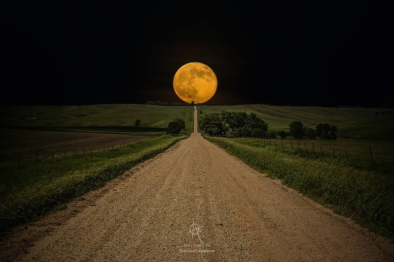 """Road To Nowhere- Supermoon"" By Aaron Groen  ---- Supermoon rises over this road to nowhere in eastern South Dakota.  prints - http://homegroenphotography.com/featured/road-to-nowhere-supermoon-aaron-j-groen.html  #moon #supermoon #southdakota #hifromsd #"