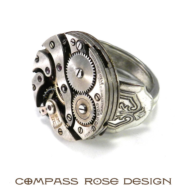 Ring In The Steampunk Decor To Pimp Up Your Home: Silver Spoon Steampunk Ring By Compass Rose Design