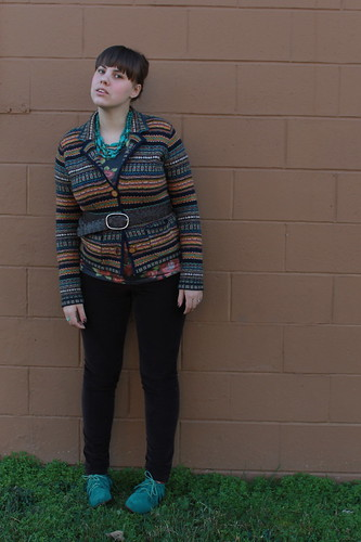 Belted outfit: leather belt, fair isle sweater blazer, brown corduroys, teal moccasins, rose-print tee, oxblood ombré nails, turquoise chevron ring | by Célèste of Fashion is Evolution