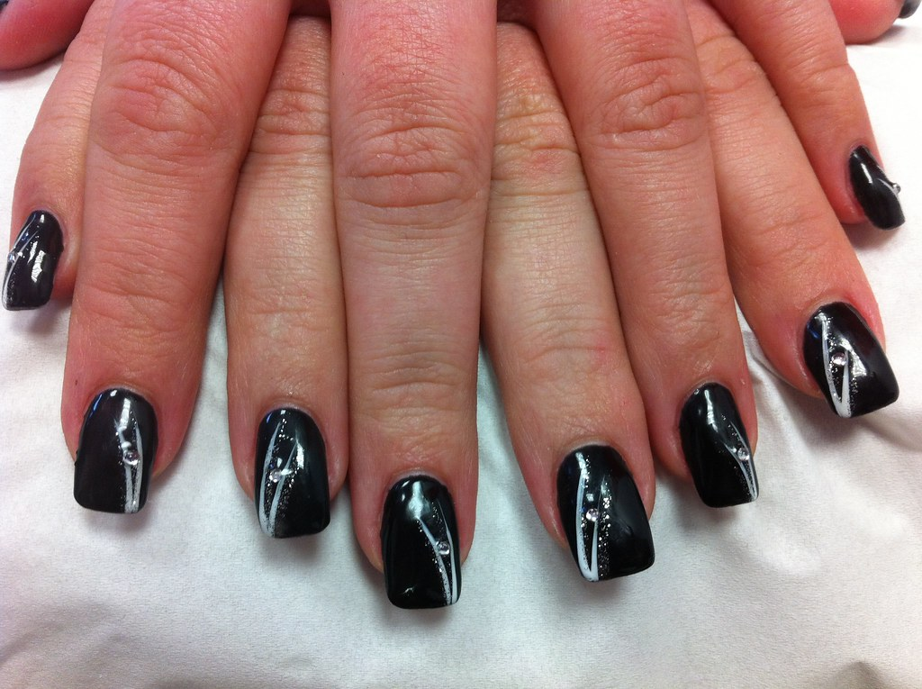 19 1 Ongle Gel Noir Decor Trait Blanc Nail Art French Manu