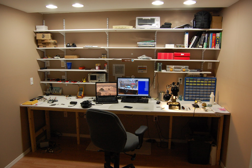 Secret Home Lab Workspace After Adding Shelving And
