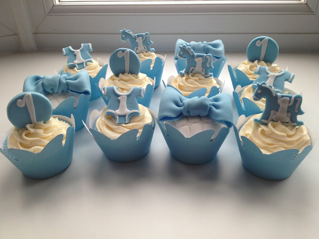 Cupcake Decorating Ideas Birthday Boy : baby boy 1st birthday cupcakes. jodie Flickr
