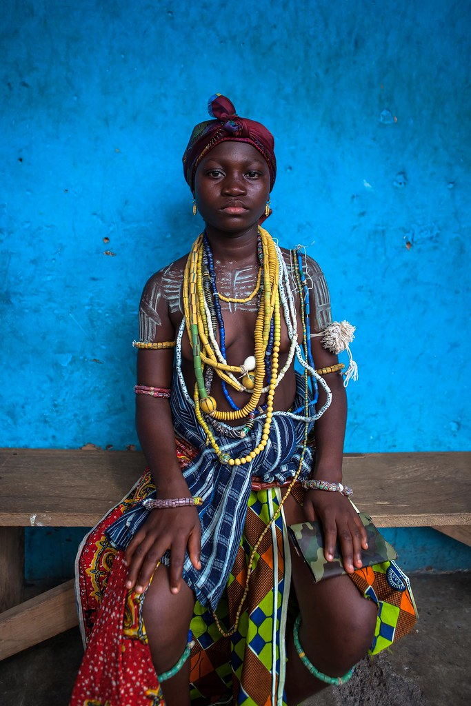Young Girl From The Krobo Tribal Group Wear Traditional Be -7233