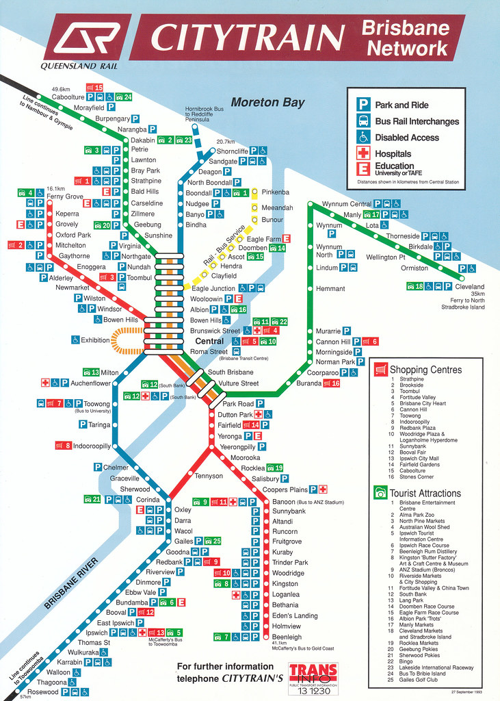 Brisbane Suburban Rail network map from the mid 1990\'s | Flickr