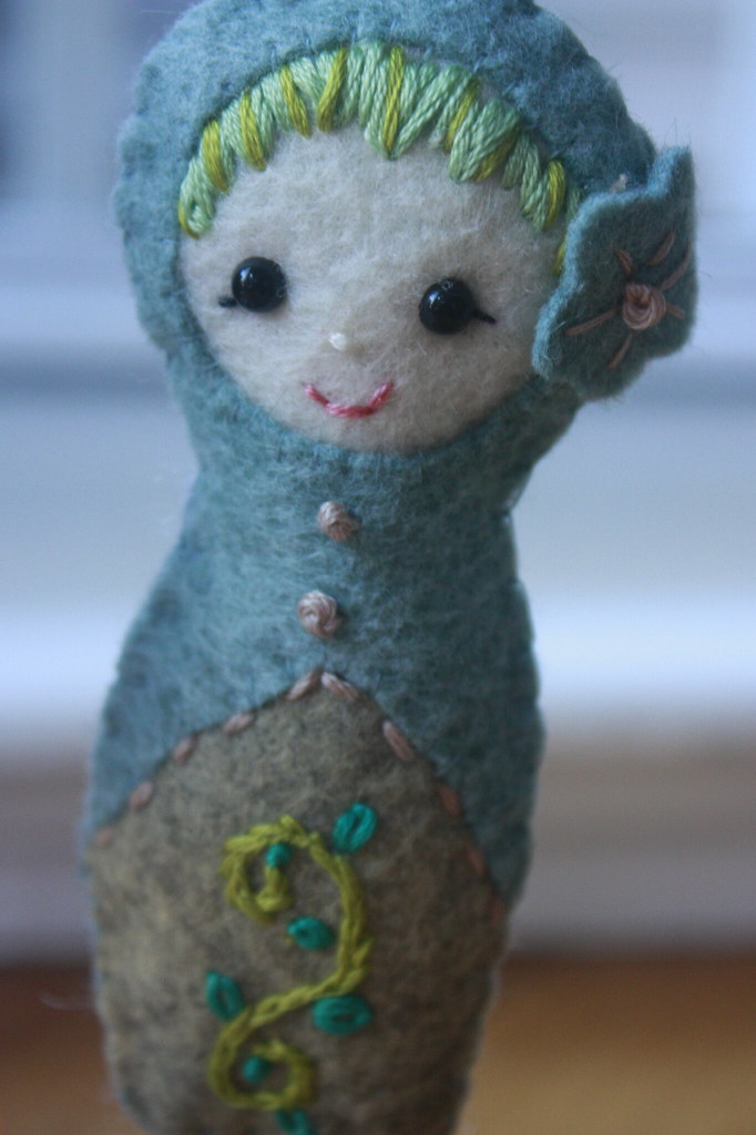 matryoshka babushka felt doll felt ornament embroidere