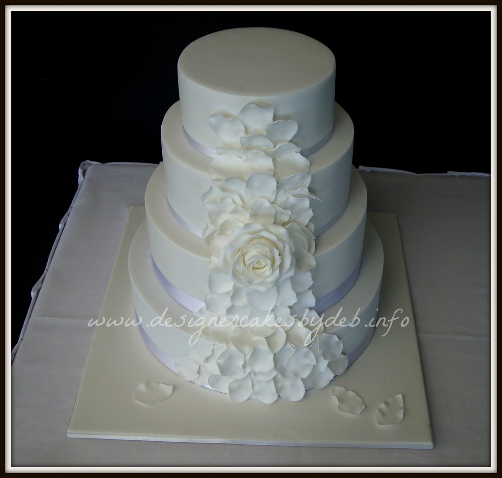 White Petals Wedding Cake