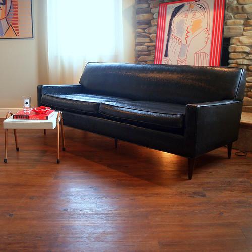 50s Vintage Midcentury Modern Sofa Fabulous Black Faux Lea