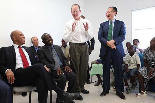 World Bank President Jim Yong Kim and Haiti President Joseph Michel Martelly meet with beneficiaries at Partners In Health hospital | by World Bank Photo Collection