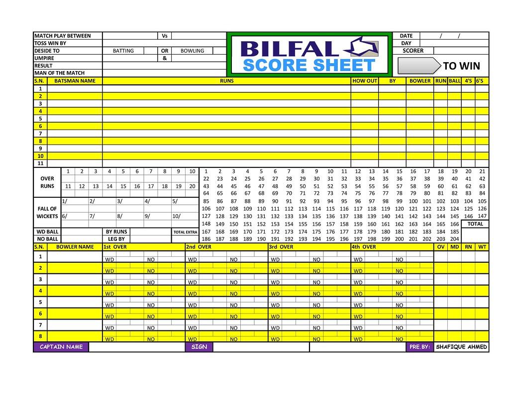 Bilfal cricket Score Sheet 1page001 Cricket Score Sheet – Cricket Score Sheet